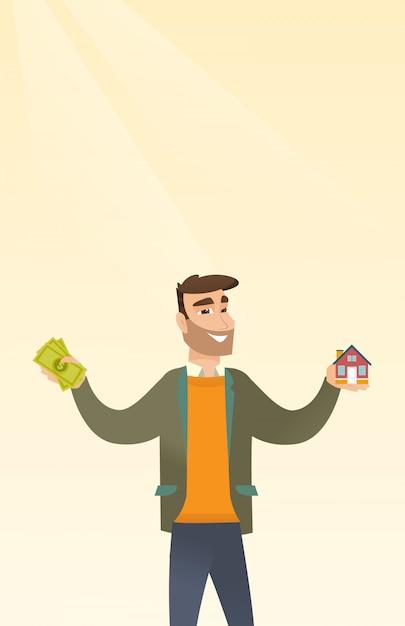Caucasian man buying house thanks to loan. Premium Vector
