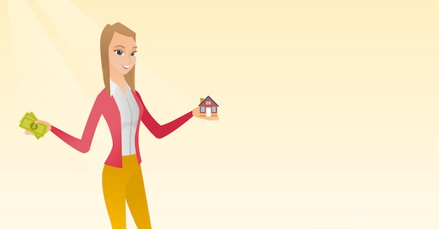 Caucasian man buying house thanks to loan. Premium Vector