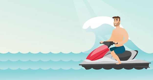 Caucasian man riding on a water scooter in the sea Premium Vector
