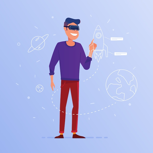A caucasian man in vr headset launching start up. Premium Vector