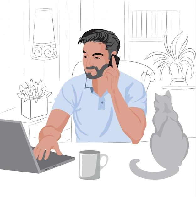 Uomo caucasico con barba e capelli scuri, lavorando da casa sul computer portatile. Vettore gratuito