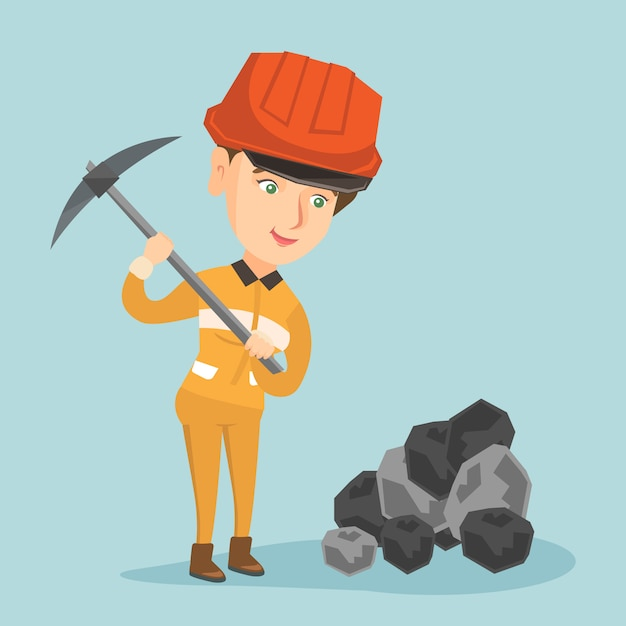 Caucasian miner in hard hat working with a pickaxe Premium Vector