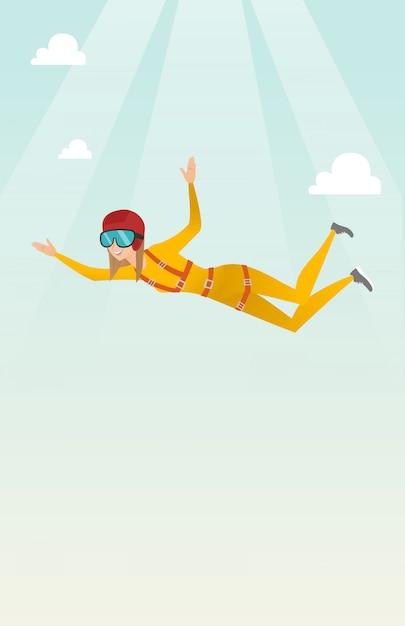 Caucasian parachutist jumping with a parachute Premium Vector