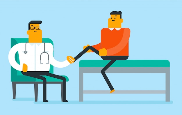 Caucasian physio checking the leg of a patient. Premium Vector