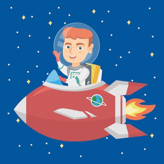 Caucasian smiling boy riding a spaceship. Premium Vector