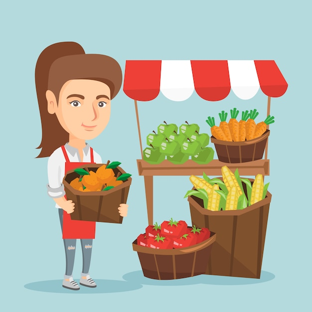 Caucasian street seller with fruits and vegetables Premium Vector