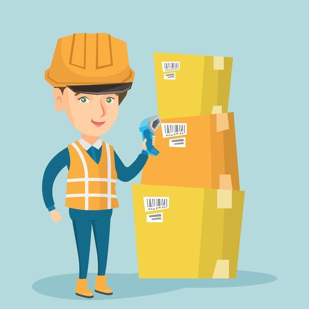 Caucasian warehouse worker scanning barcode on box Premium Vector