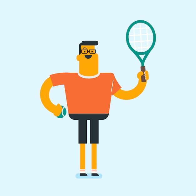 Caucasian white tennis player with a tennis racket Premium Vector