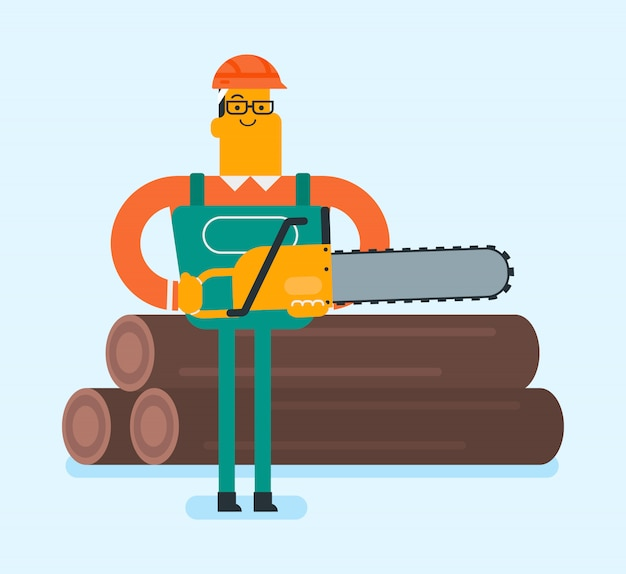 Caucasian white woodcutter working with chainsaw. Premium Vector