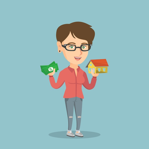 Caucasian woman buying house thanks to loan. Premium Vector