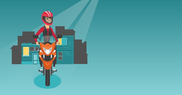 Caucasian woman riding a motorcycle at night. Premium Vector