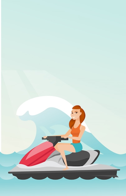 Caucasian woman riding on water scooter in the sea Premium Vector