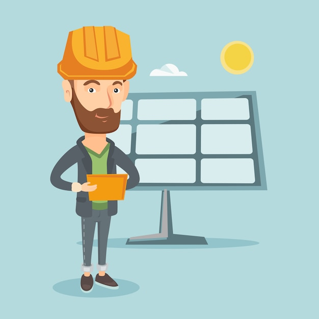 Caucasian worker of solar power plant. Premium Vector