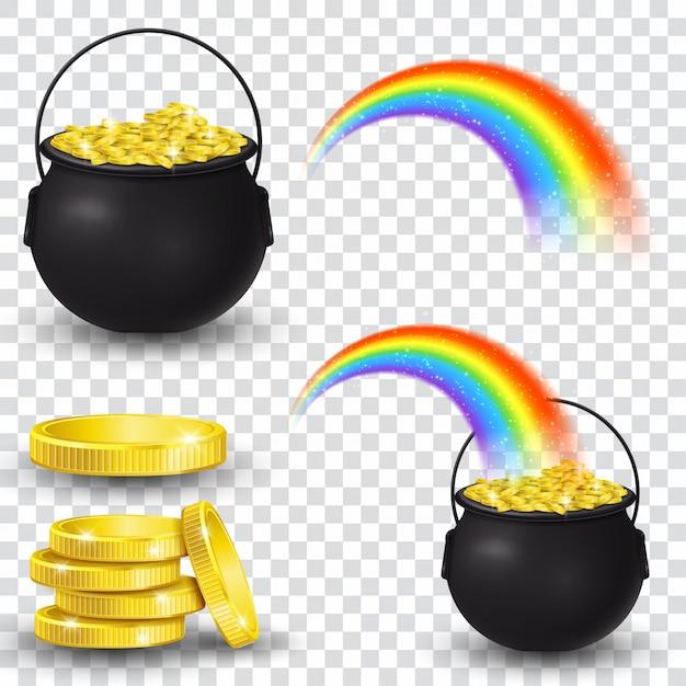 Cauldron full of gold coins and rainbow Premium Vector
