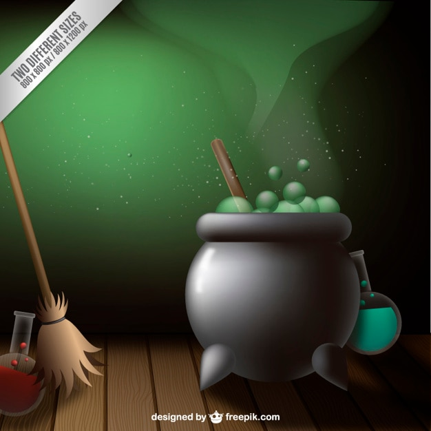 Cauldron for halloween and a broom Free Vector
