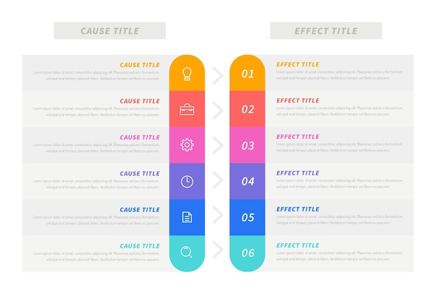 Cause and effect bar infograhic Free Vector