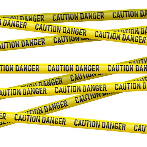 Осторожность и опасность желтой ленты Premium векторы