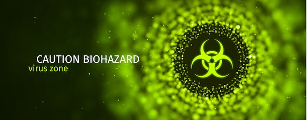 Caution biohazard epidemic banner toxic sign on green blurred background Premium Vector