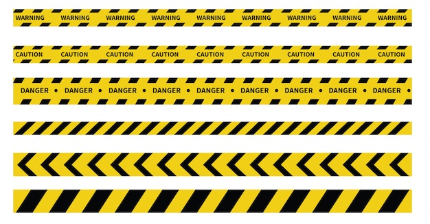 Caution and danger tapes. warning tape. black and yellow line striped. Premium Vector