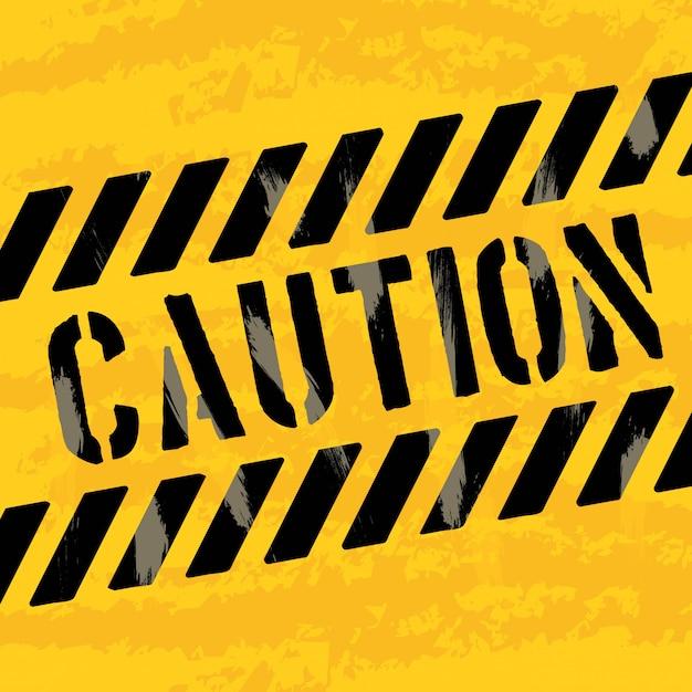 Caution design over yellow background vector illustration Premium Vector