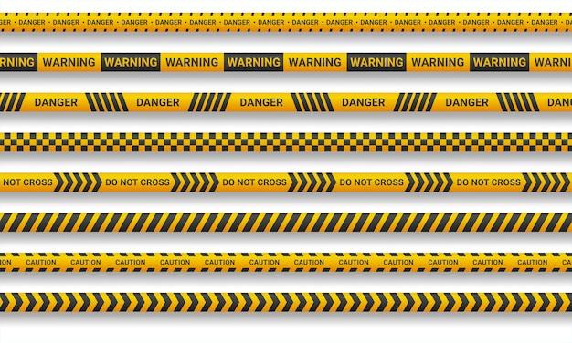 Предупреждающая линия и ленты опасности на белом фоне Premium векторы