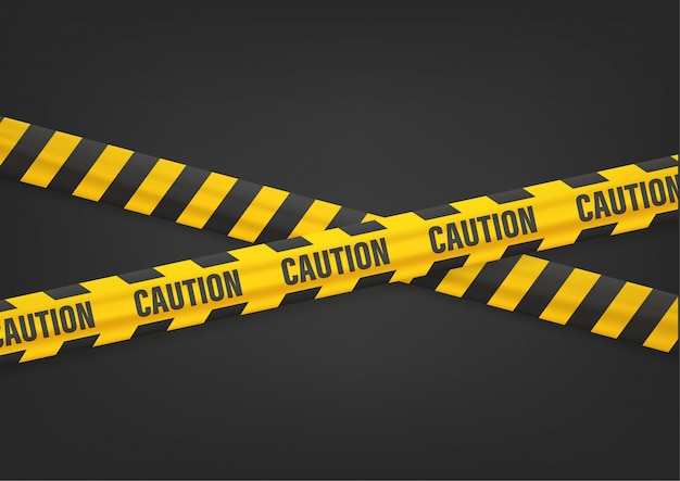 Предупреждение с лентами на черном Premium векторы