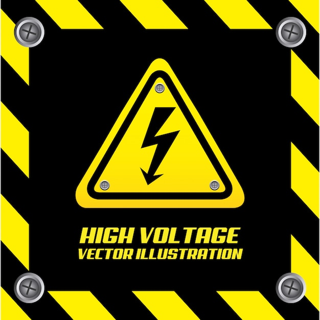 Caution signal over black Free Vector