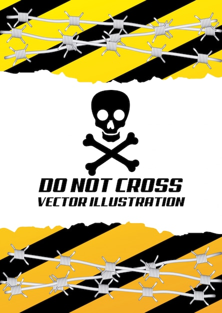 Caution signal over white Free Vector