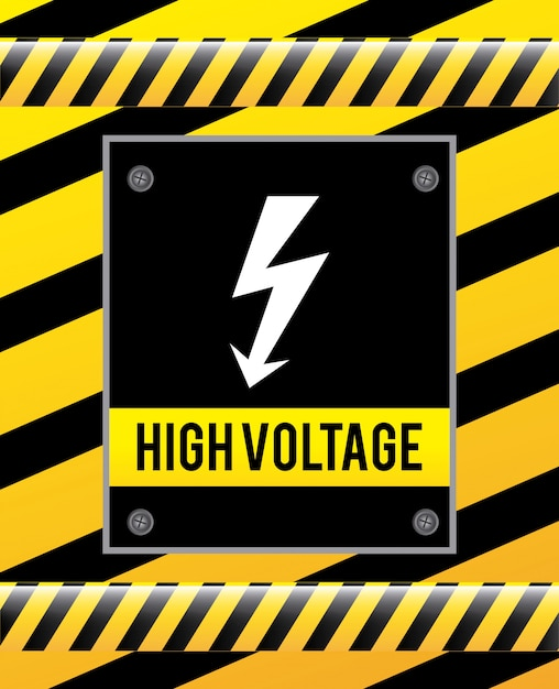 Caution signal over yellow Free Vector