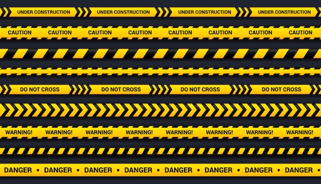 Caution tape set of yellow and black ribbons, for dangerous area, accident, police.  tape template with shadow on dark background. Premium Vector