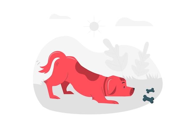 Cautious dog concept illustration Free Vector