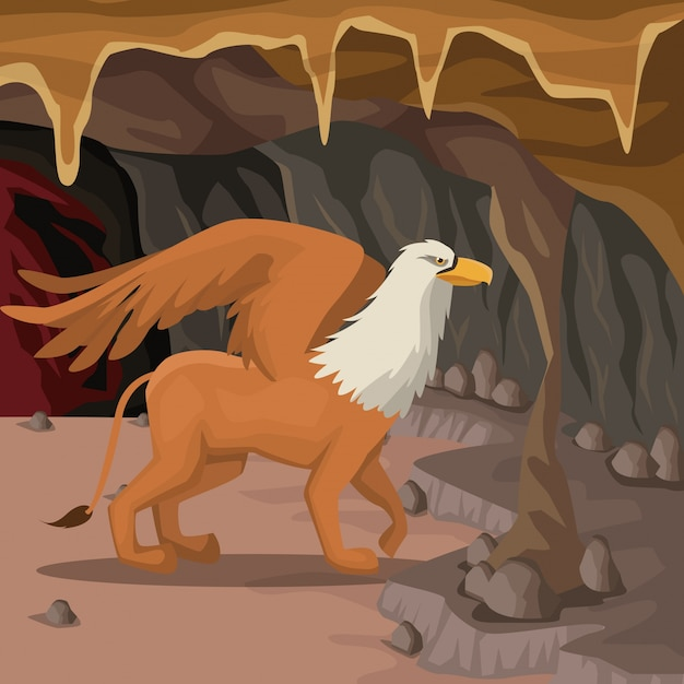 Cave interior background with griff greek mythological creature Premium Vector