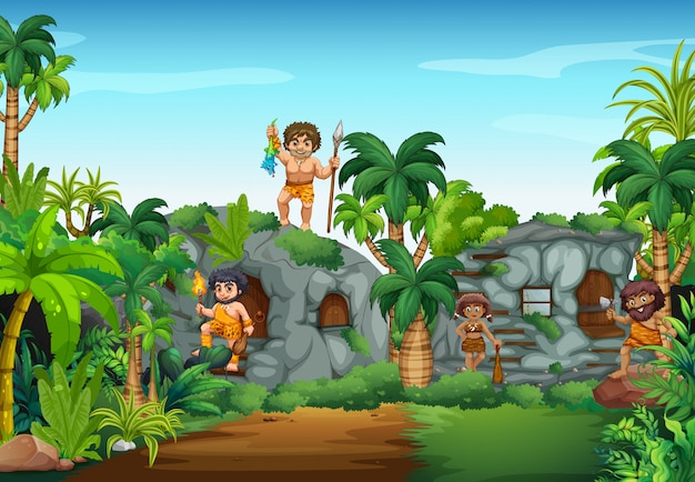 Cave people living in the forest Free Vector