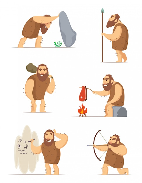 Caveman and different action poses Premium Vector