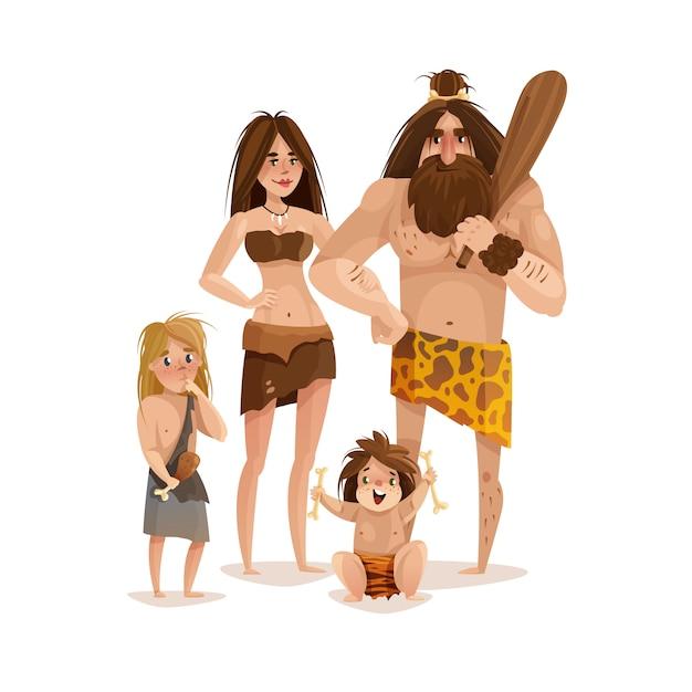Caveman family design concept Premium Vector