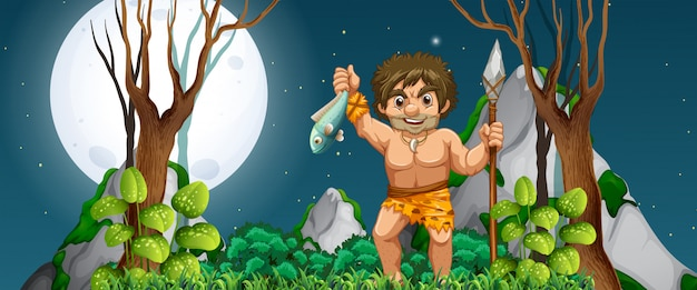 A caveman hunting for food Free Vector