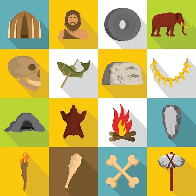 Caveman icons set, flat style Premium Vector