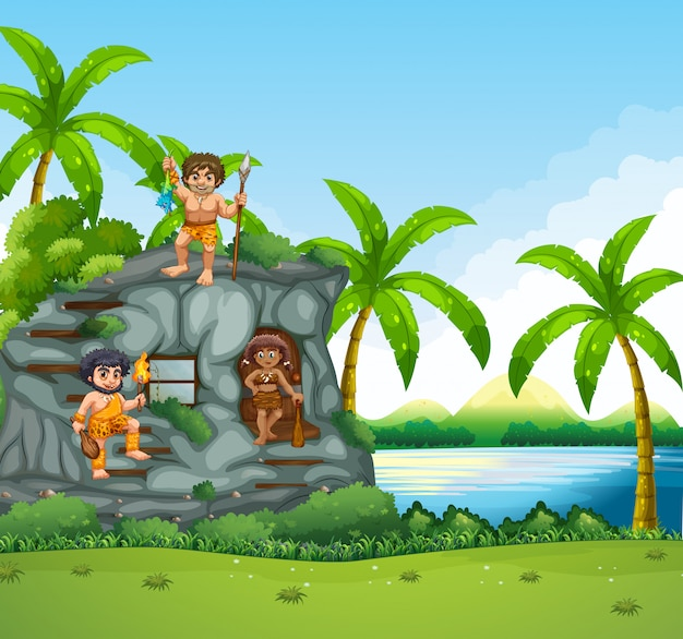Cavemen living by the lake Premium Vector