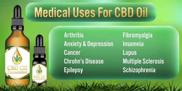 Медицинское использование для cbd масла cannabidiol продукты Premium векторы