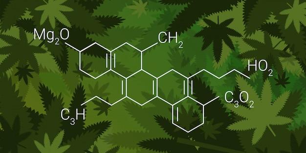 Cbd cannabidoil thc chemical formula cannabis leaves background medical marijuana drugs consumption concept horizontal Premium Vector