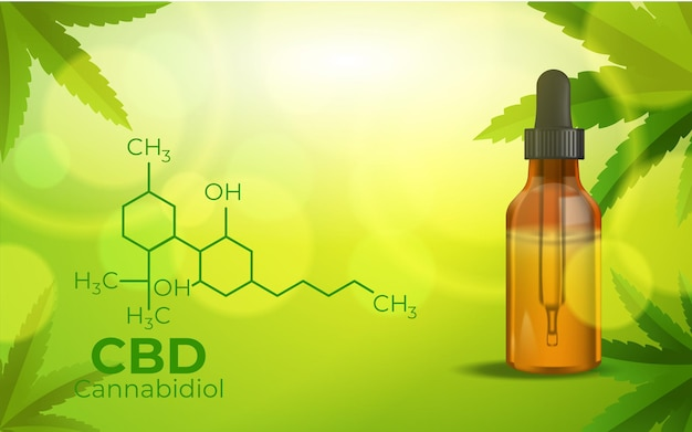 Cbd chemical formula, growing marijuana, cannabinoids and health Free Vector