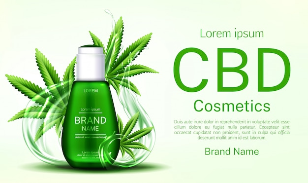 Cbd cosmetics bottle with water splashes and cannabis leaves banner Free Vector