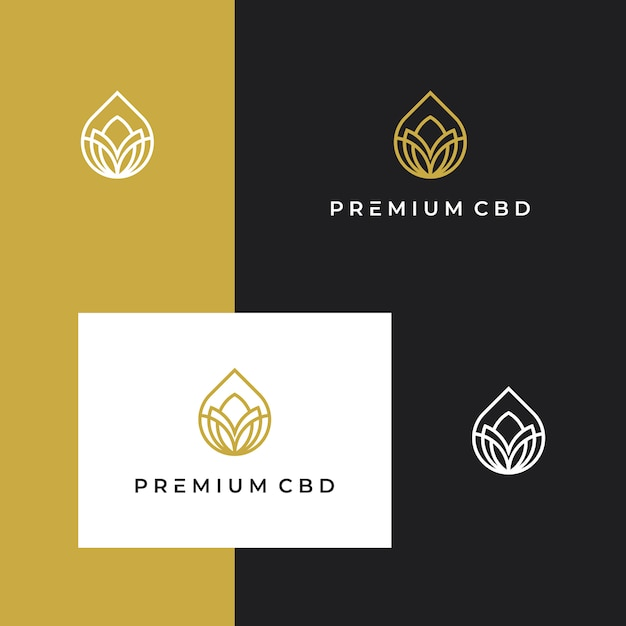 Марихуана, каннабис, cbd, логотип премиум вдохновение с линией Premium векторы