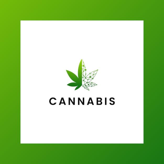 感動的なロゴcbd、マリファナ、大麻 Premiumベクター