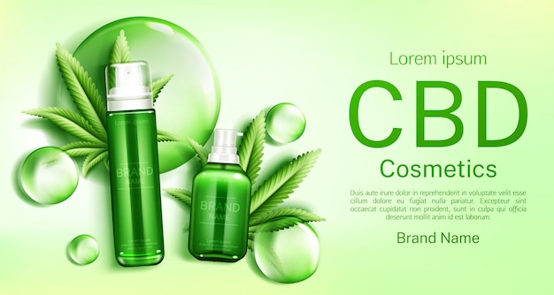 Cbd косметические флаконы с пузырьками и листьями Бесплатные векторы