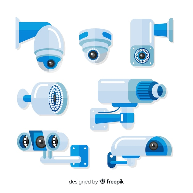 Cctv camera collection with flat design Free Vector