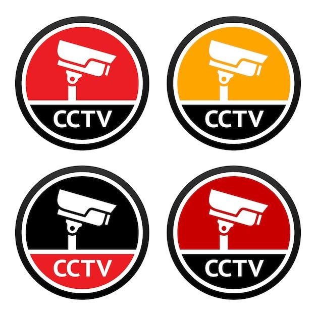 Cctv icon set sign Premium Vector