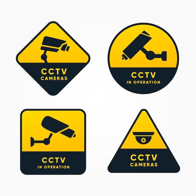 フラットデザインの現代cctv sign collection 無料ベクター