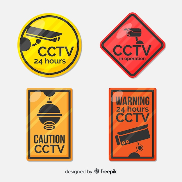 Cctv sign collection Free Vector