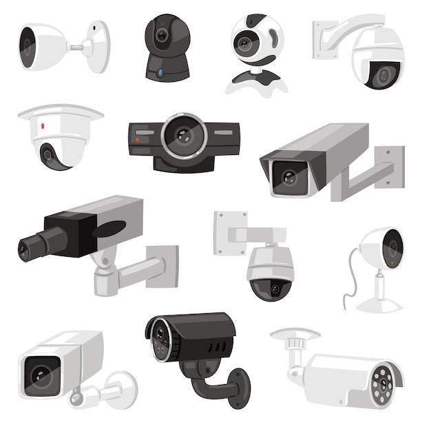白い背景に分離されたセキュリティカメラcctvコントロール安全ビデオ保護技術システムイラストプライバシーセキュアガード機器ウェブカメラデバイスのイラストセット Premiumベクター
